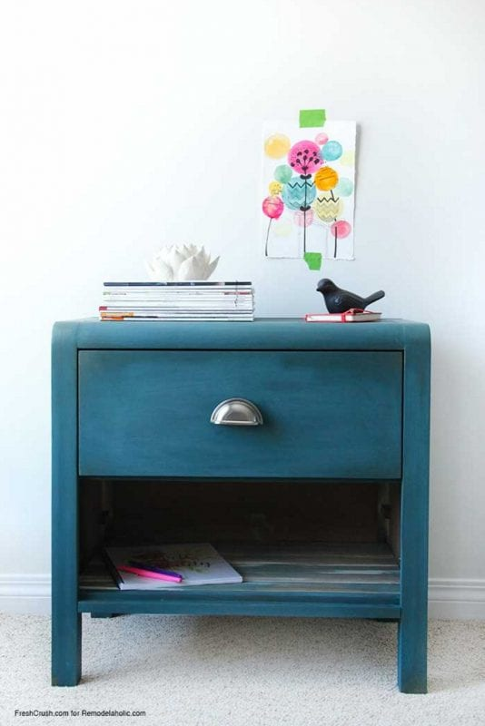 Faux Barn Board Nightstand Makeover