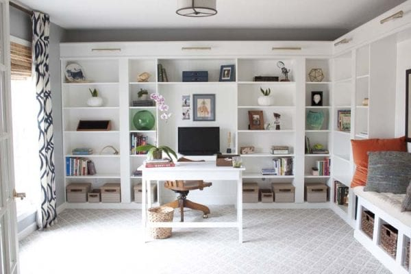 IKEA-Hack-Built-in-Billy-Bookcase-Office-Makeover Southern Revivals