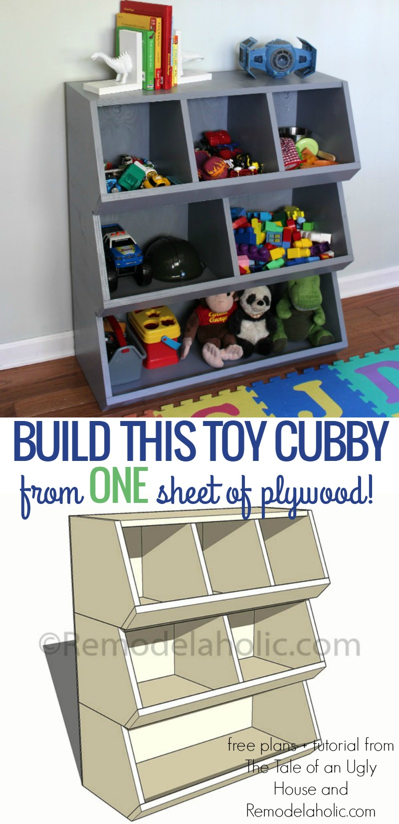 Toy Storage For Boys : Remodelaholic how to build a toy cubby shelf boy s