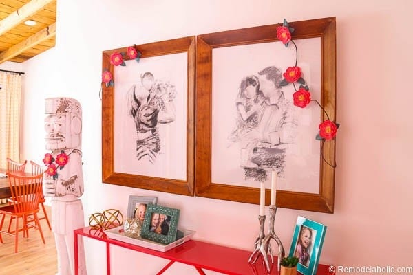 This beautiful paper flower garland looks stunning draped over family portraits. Great for party decor or anywhere you need a little color. Free printable from @Remodelaholic and Canon.