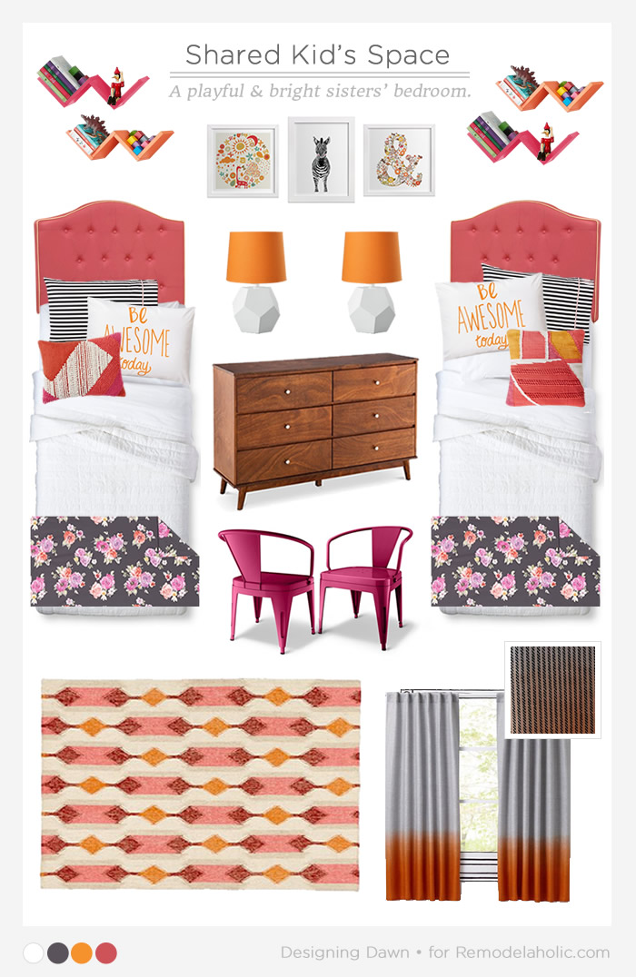 This is the CUTEST shared kids space, perfect for my girls' room. by DesigningDawn on Remodelaholic.com