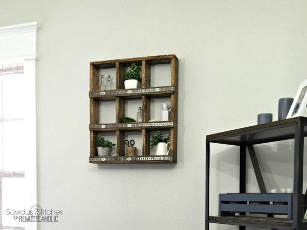 Remodelaholic Rustic Wood And Metal Diy Wall Cubby Shelf