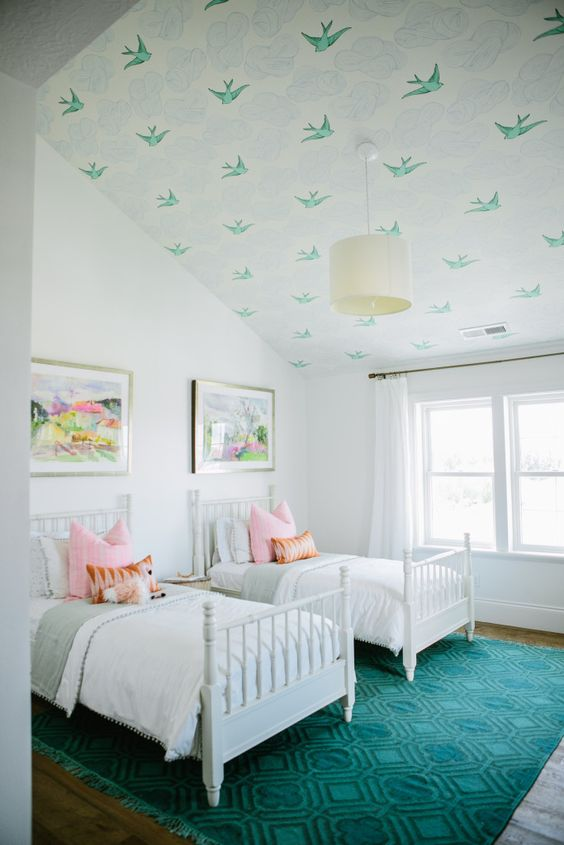 Shared Kids Space Inspiration -- wallpaper on the ceiling. Need that.