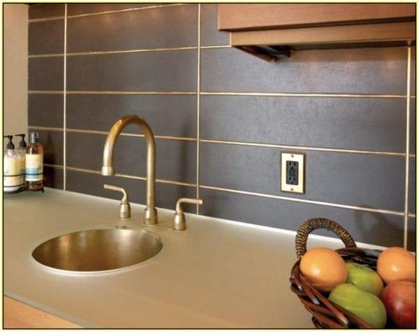 bronze-metal-tile-backsplash Eric's Health Food