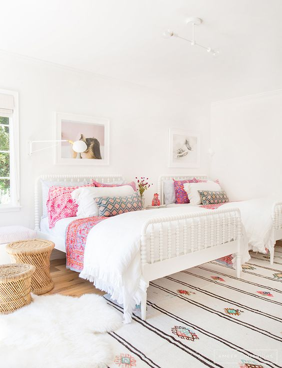 Shared Kids Space Inspiration - white and airy and pink for the girls!