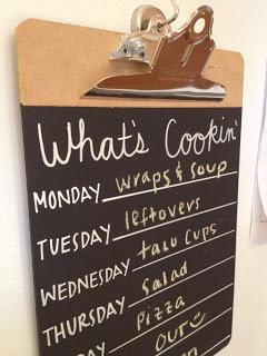 clipboard menu planner board