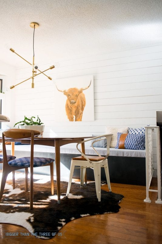 diy banquette bench in a rustic kitchen Bigger Than The Three of Us