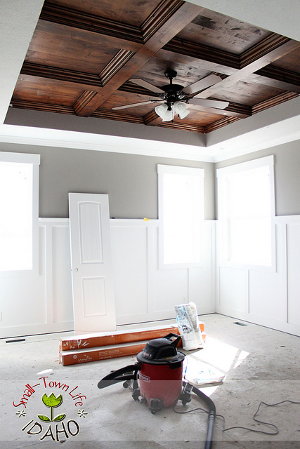 Remodelaholic diy beadboard ceiling to replace a for Coffered ceiling paint ideas