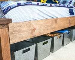 feat DIY farmhouse bed with trundle and storage Infarrantly Creative