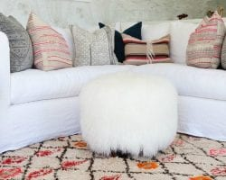 feat modern color southwest inspired living room area via Style Me Pretty, photo Amy Bartlam