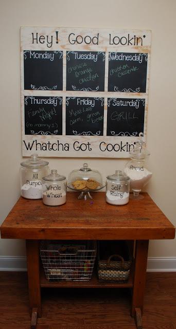 large chalkboard weekly menu planner