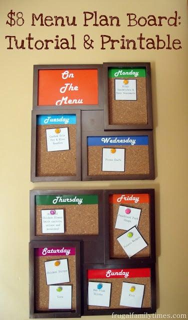 cork menu plan board