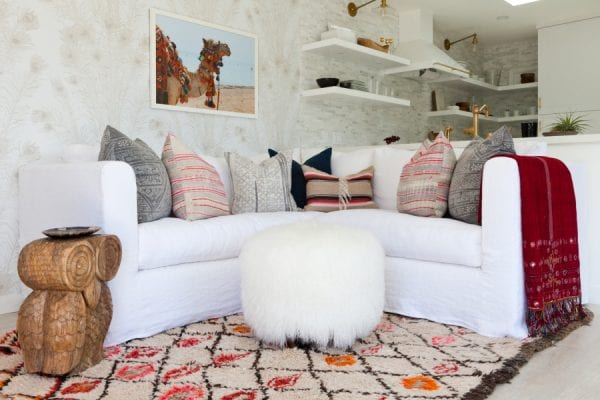 modern color southwest inspired living room area via Style Me Pretty, photo Amy Bartlam