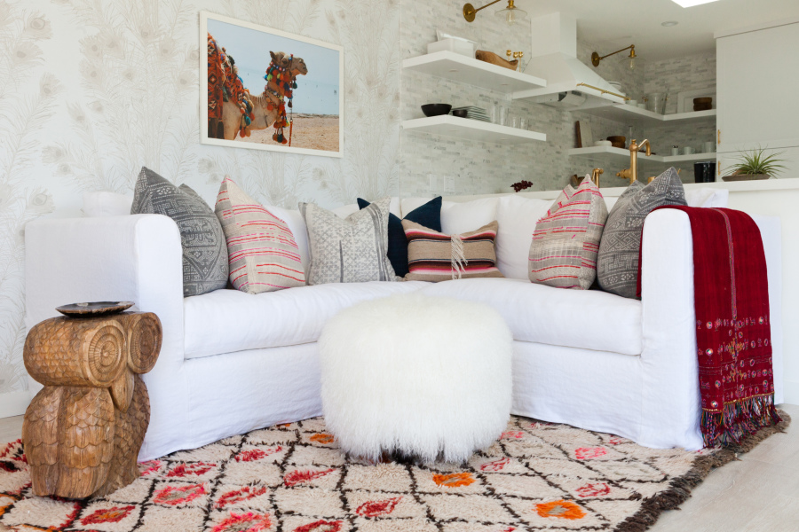 southwestern living room furniture. modern color southwest inspired living room area via Style Me Pretty  photo Amy Bartlam Remodelaholic Inspiration File Wild Modern Southwestern