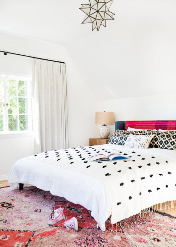modern colorful southwest inspired bedroom via Style Me Pretty, photo Tessa Neustadt