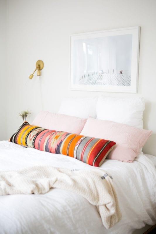modern neutral southwest style bedroom via Style Me Pretty, photo Monica Wang