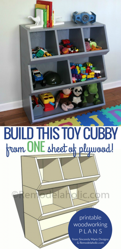 One Sheet Plywood Toy Cubby Shelf, Printable Woodworking Plans, Remodelaholic