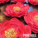 Printable Layered Paper Flower Template, Pink Teal Turquoise Yellow Camellia Paper Flowers, Remodelaholic