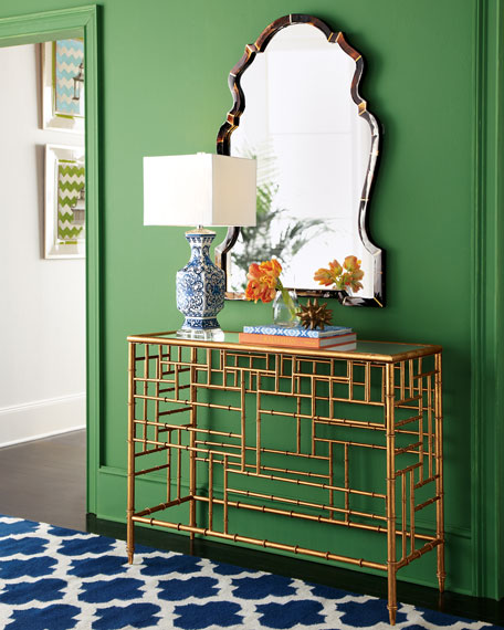 Brass Bamboo Console Table   Modern Tropical Style on Remodelaholic.com