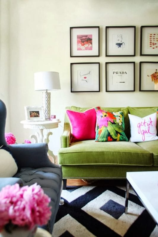 Bright and tropical throw pillows   Modern Tropical Style on Remodelaholic.com