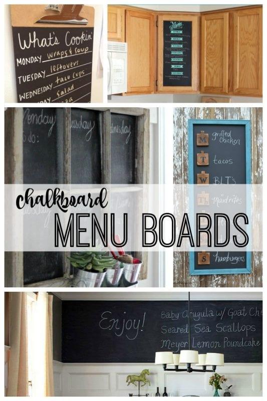 Chalkboard menu boards featured on remodelaholic.com