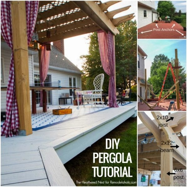 Build a DIY pergola to make your backyard perfect for relaxing and entertaining! Full tutorial from The Heathered Nest on Remodelaholic.com