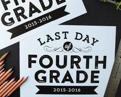 Free printable signs, sized 8 x 10 for the last day of school— from pre-school to 12th grade. Design by Elegance and Enchantment for Remodelaholic.