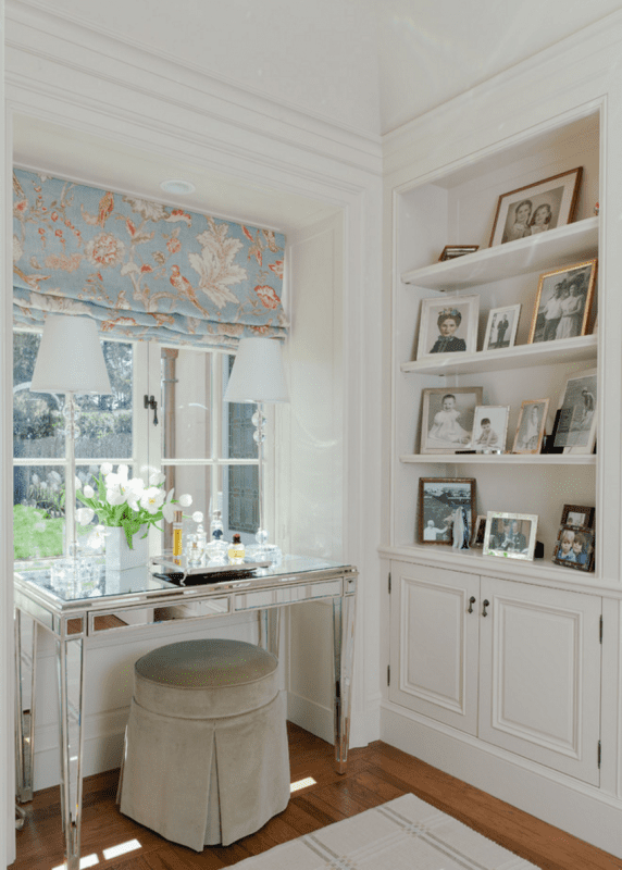 Floral Roman Shades and mirrored Desk Houzz