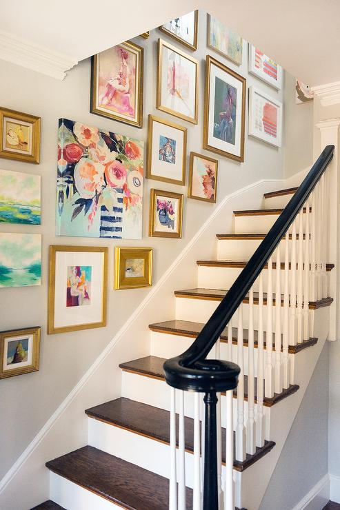 Floral Staircase Gallery Wall