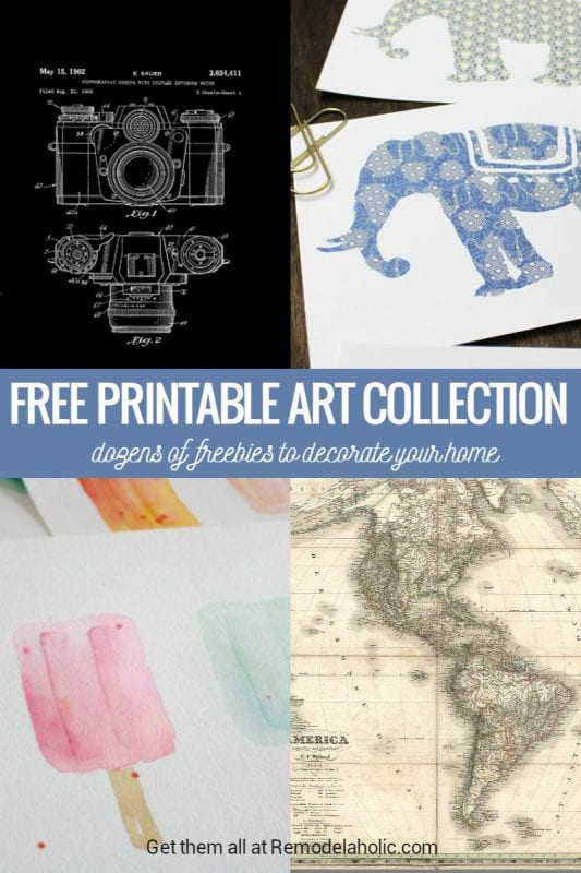 Free Printable Art Collection -- dozens of free art prints and vintage images to decorate your home! Find them all at Remodelaholic.com
