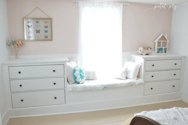 IKEA dresser hack built-in window seat Petal and Ply