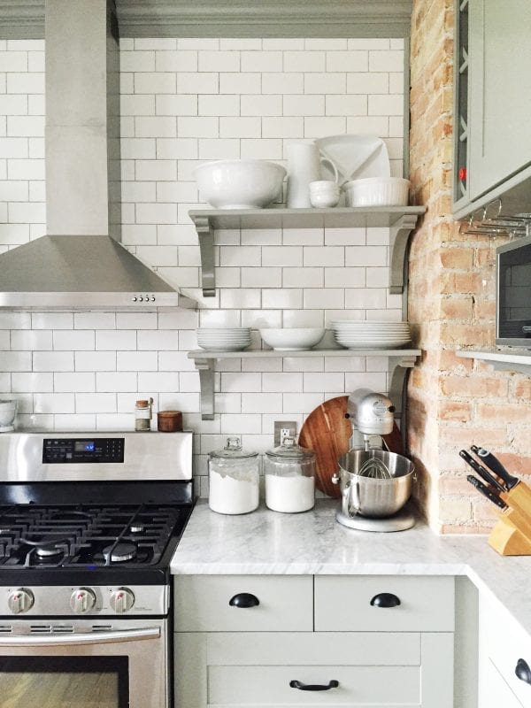 Marvelous Stunning kitchen renovation with an exposed brick wall open shelving and IKEA cabinets