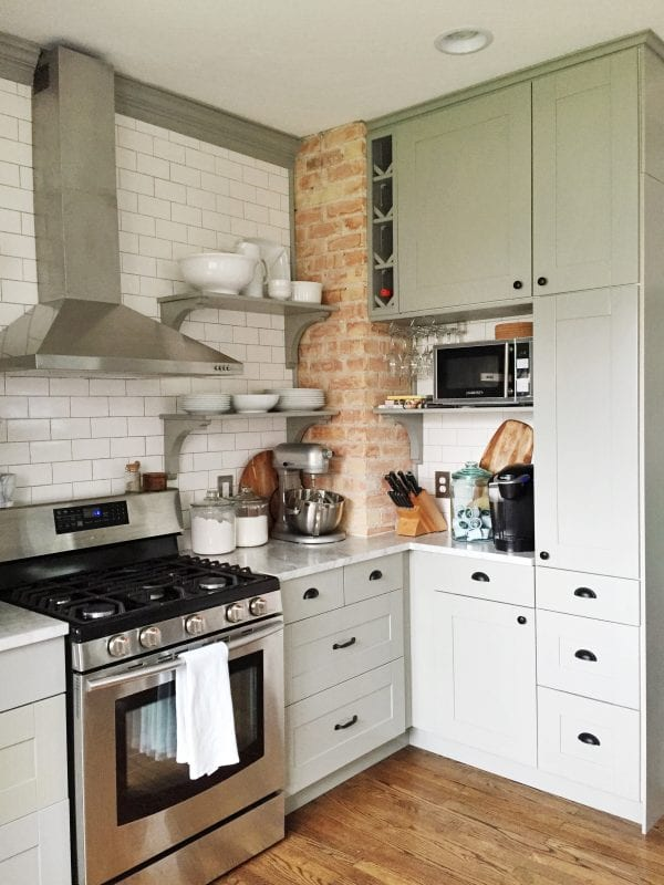 Remodelaholic whitney 39 s beautiful diy kitchen with ikea for Diy small kitchen remodel