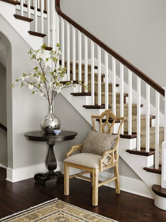 Paint colors for wood floors and trim: Vapor Trails from Benjamin Moore