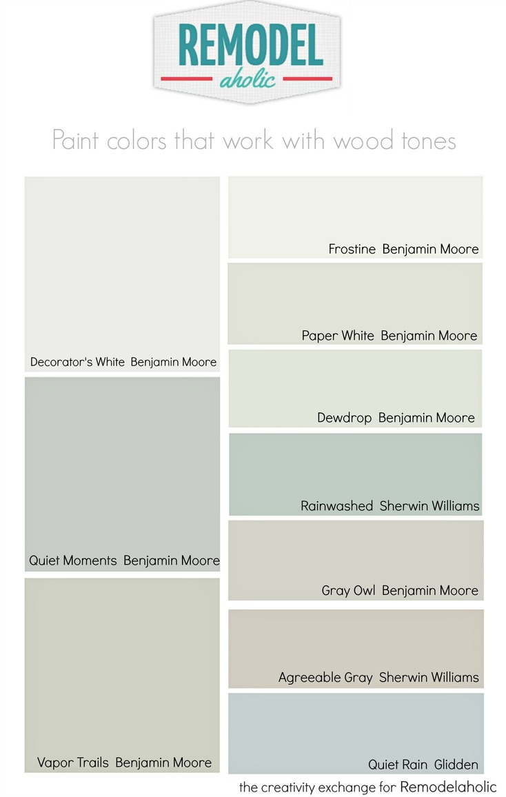 Remodelaholic choosing paint colors that work with wood for Paint colors for wood trim