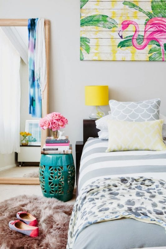Tropical Bedroom with Flamingo art   Modern Tropical Style on Remodelaholic.com