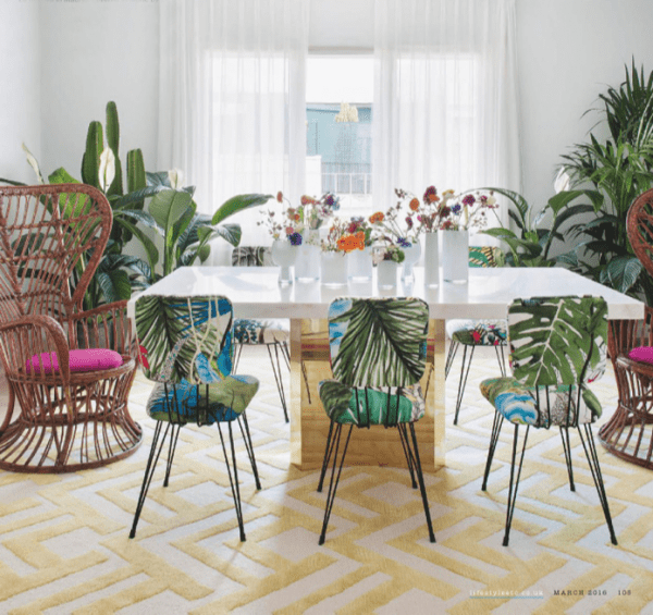 Tropical Dining Set | Modern Tropical Style On Remodelaholic.com