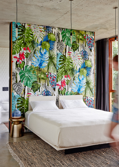 Tropical Feature Wall Master Bedroom   Modern Tropical Style on Remodelaholic.com