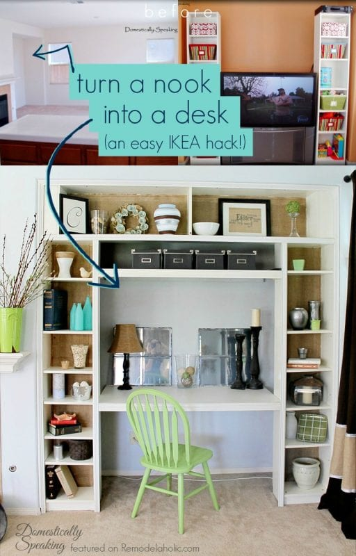 Use IKEA bookshelves to turn a nook or closet into a built-in desk Domestically Speaking featured on @Remodelaholic