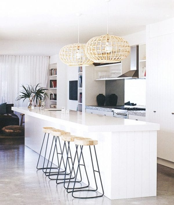White Kitchen with Tropical pendant lights   Modern Tropical Style on Remodelaholic.com