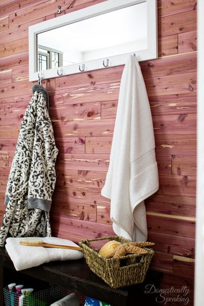 cedar planked bathroom wall Domestically Speaking