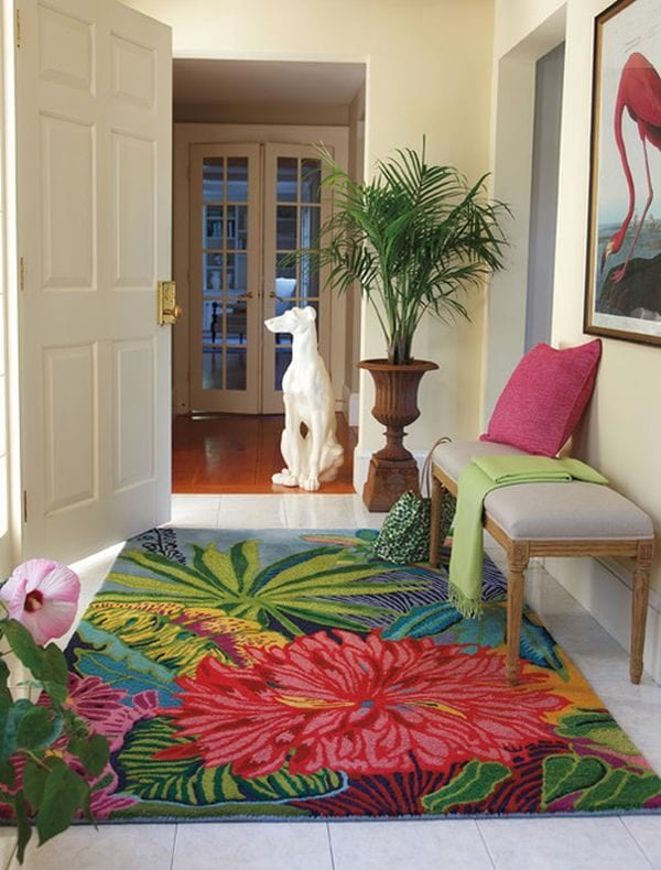 colorful entryway | Modern Tropical Style on Remodelaholic.com