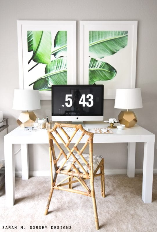 That framed leaf print!   Modern Tropical Style on Remodelaholic.com