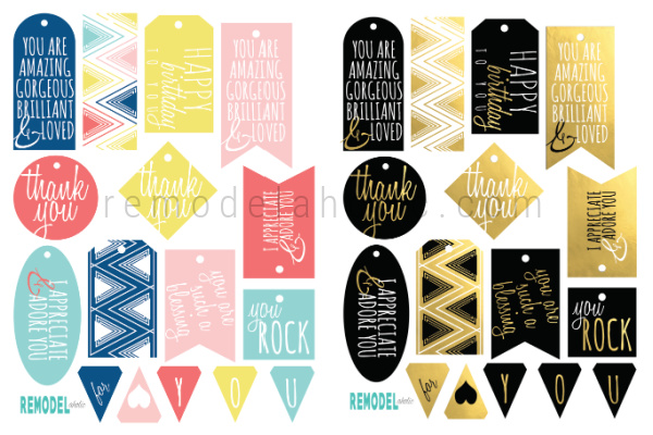 Layered Printable Gift Tag Set For Birthdays Thank You Appreciation Remodelaholic