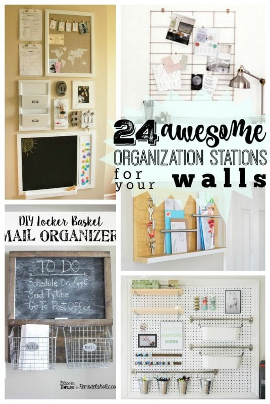 Get organized this school year with these creative DIY wall organization stations! 24 ideas to turn an entry wall or kitchen space into a command center for your entire family.