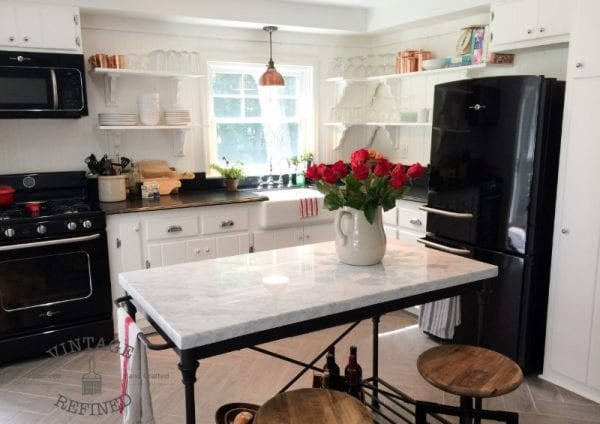 Amazing Kitchen Remodel Diy, White Kitchen With Black Appliances, By  Vintage Refined Featured On