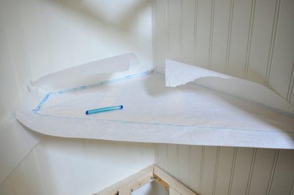 creating shelf template for odd and irregular shaped corner floating shelves