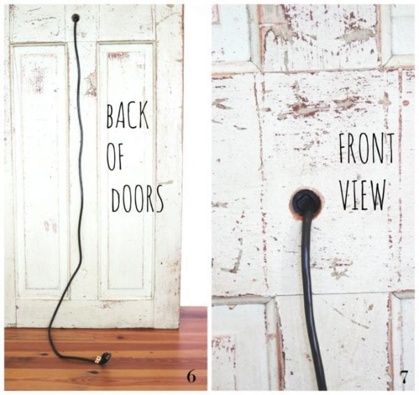 Vintage door to bedside lamp, by Simple Nature Decor featured on @Remodelaholic