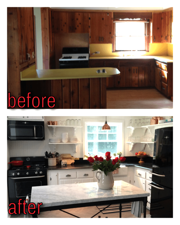 Amazing Kitchen Renovation  before and after  by Vintage Refined featured  on  Remodelaholic. Remodelaholic   Kitchen Renovation  Updating Knotty Pine Cabinets