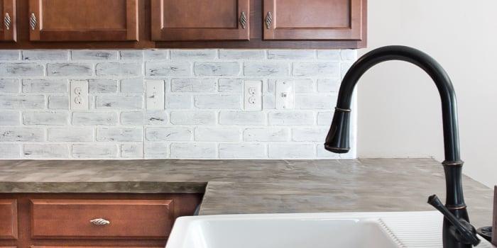 Faux Brick Backsplash Kitchen
